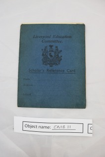EMB11: Scholars Reference Card from the Liverpool Education Committee from 1940. Mother-in-laws school reference card for future employees