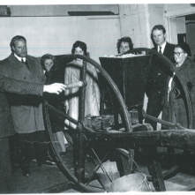 17th November 1970: exhibit opening night. This photo was taken on the open night of a new exhibit in Craven Museum. Visitors, including local photographer and dentist Ken Elwood, can be seen looking at the Derbyshire ore crusher, a piece of industrial equipment used for lead mining. Picture courtesy of Craven Herald.