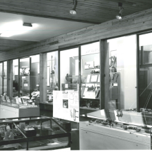 Post-1973: upstairs at the Town Hall (1/2) Look familiar? This photo shows Craven Museum upstairs in Skipton Town Hall, and includes cases that were still being used up until 2018. Photograph by David Hyde.