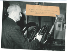 1940s: collecting the past. During the period 1934 to 1973, the Librarian at Skipton Library was also the head Curator of Craven Museum. This photo shows Mr Ward, an assistant at the Museum, holding a musical instrument known as a serpent (a bass wind instrument similar to a trumpet), that is still in the Museum collection today. Picture courtesy of Bradford & District Newspaper Coy. Ltd.
