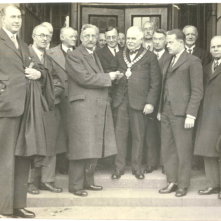 4th April 1934: the Museums future was secured. The Museum was originally run by the Craven Museum and Archaeological society and supported by a group of volunteers (who, 30 years later, officially became the Friends of Craven Museum). In 1934 the Museum was handed over to Skipton Urban District Council to secure its future. In this photograph, Mr J F N Dufty (a teacher at Ermysted's Grammar School) is pictured officially handing the Museum over to the council.
