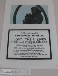 ING1: This is a photo of a statue made to commemorate the miner's who lost their lives in the Oaks Colliery disaster, and was unveiled in 2017. Underneath is a plaque previously made in memorial.