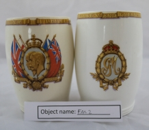FAR2: George and Mary Silver Jubillee beakers (1910-1935), given to the owner's father when he was at school.