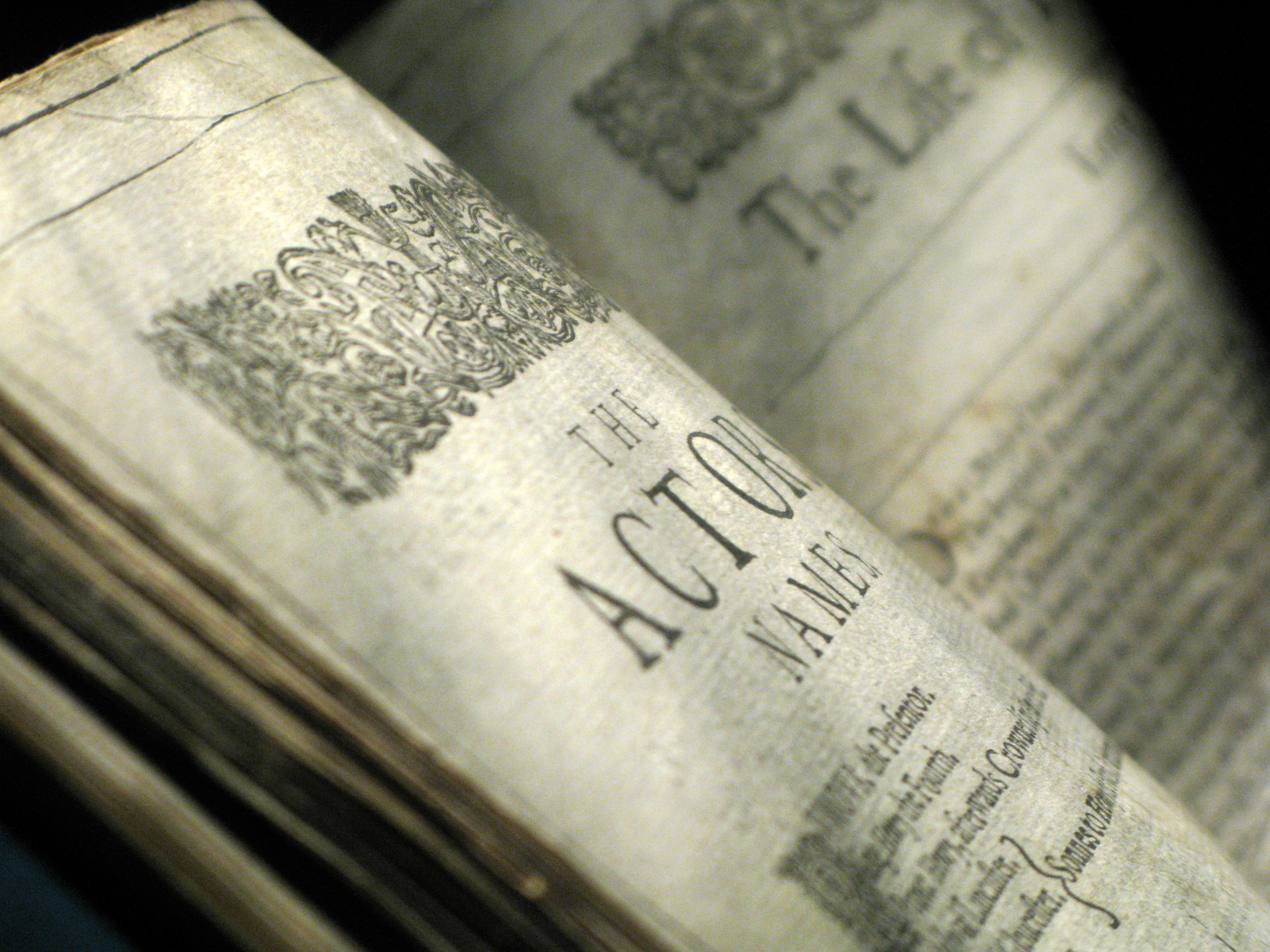 Close up shot of Shakespeare's First Folio. Open part way through the book. The left hand page says 'The Actor's Names'.