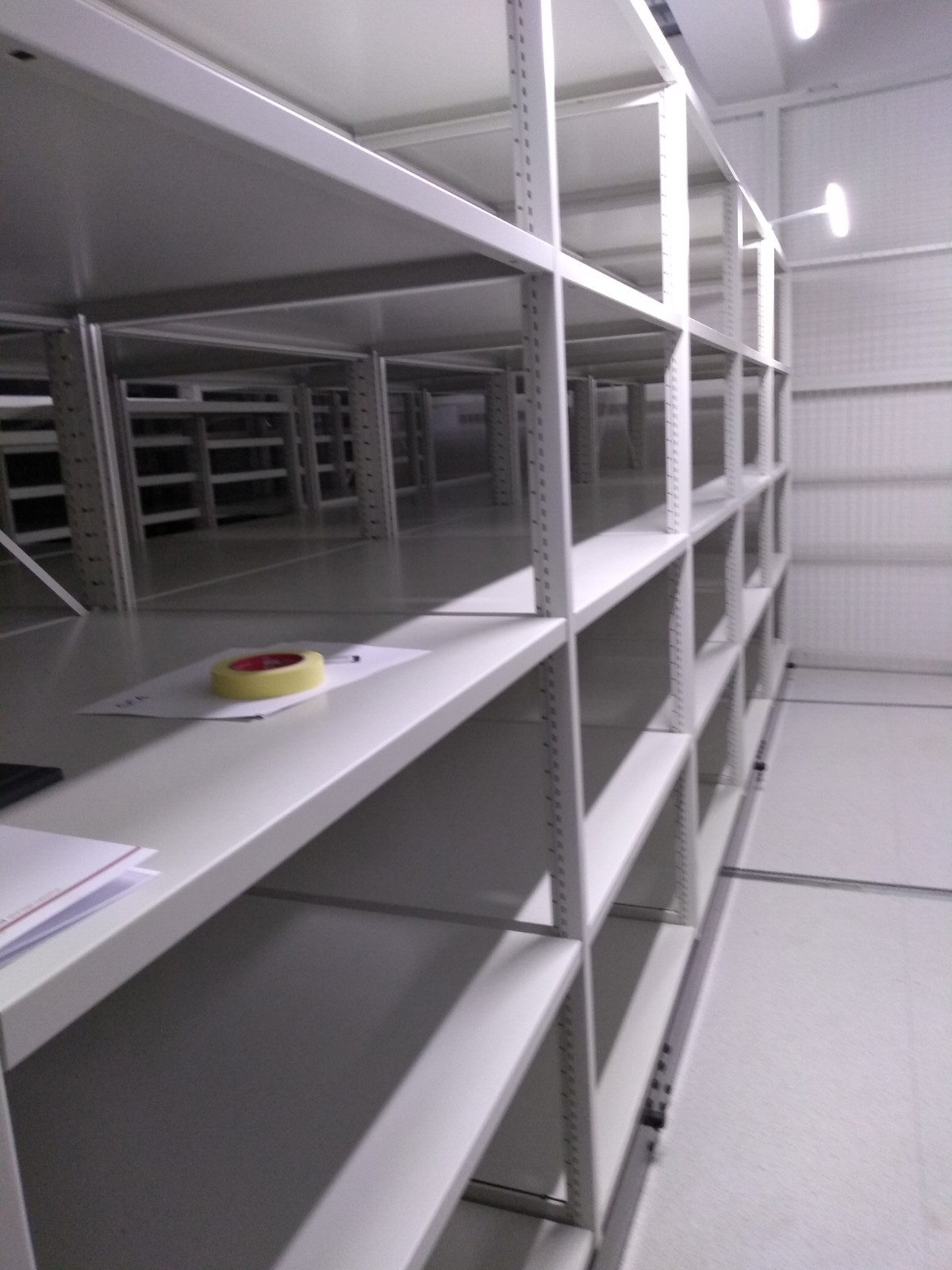 Empty roller racking in the new museum